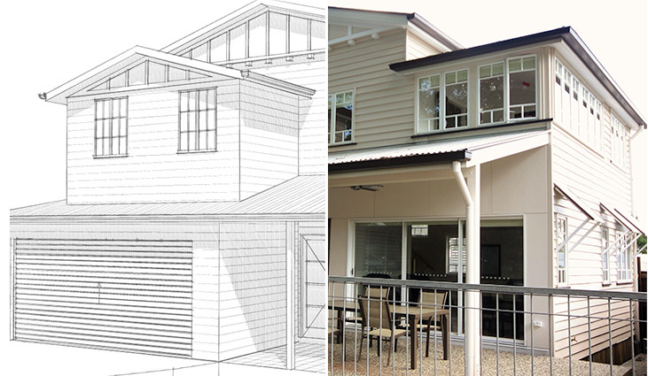 Sketch to completed house extension