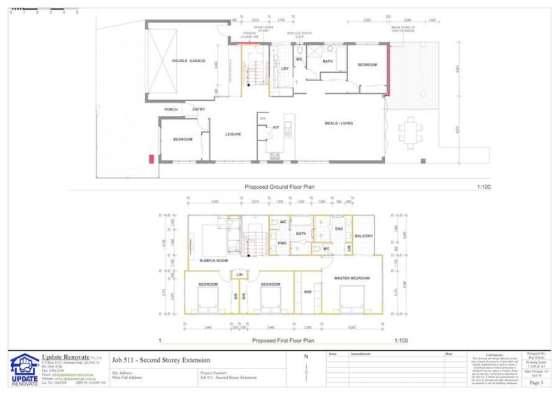 Floor Plans Second Storey House Extension Wakerley