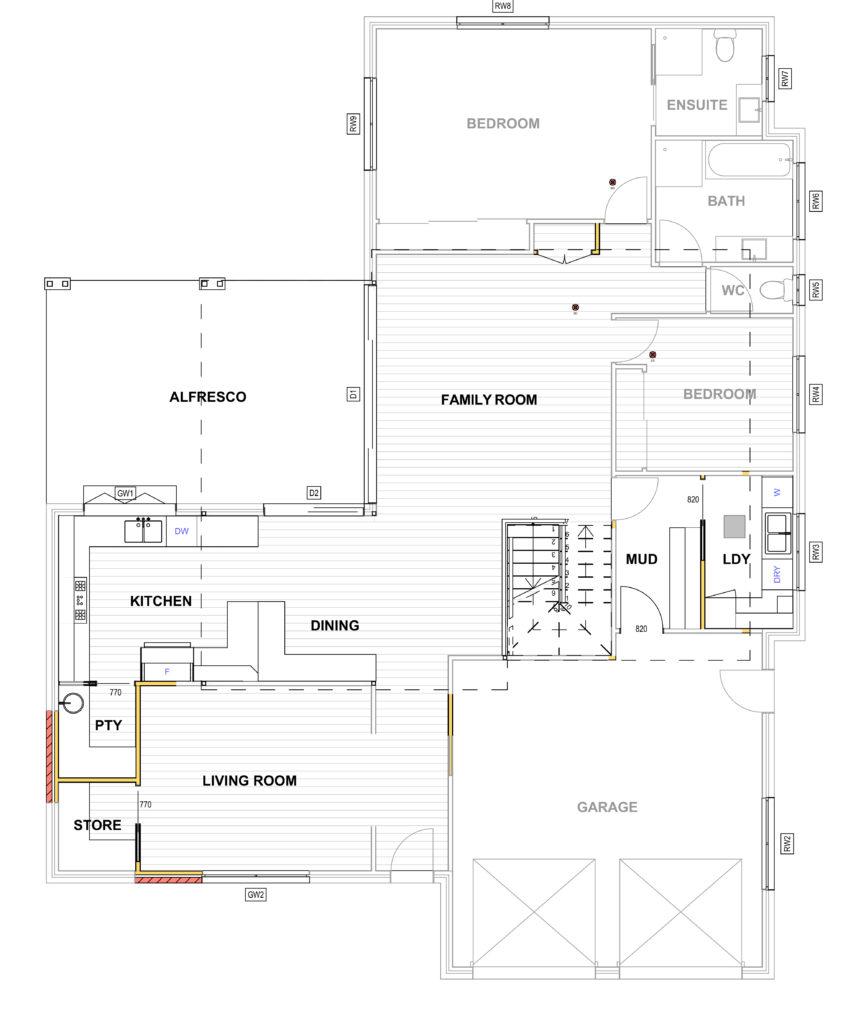 Ground floor plan for a second storey extension Belmont Brisbane
