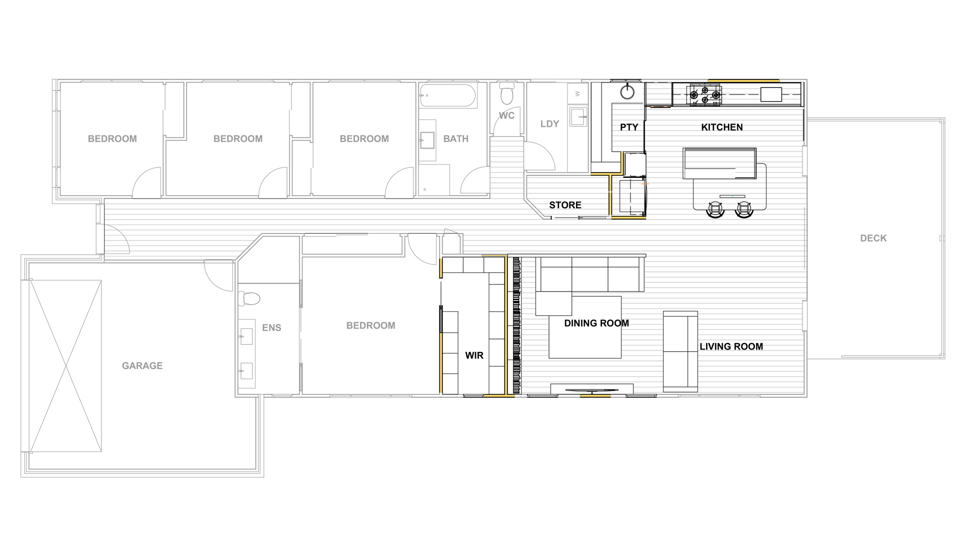 Proposed Plan, House renovation new open plan kitchen living an dining.
